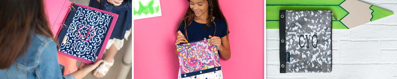 Pencil Pouches - Zip Pouch Wristlets - Sweet Paradise Collection - Tickled Pink Collection