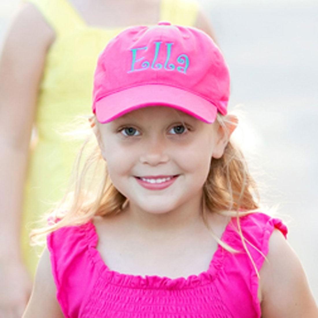 011be00ff92b2 Monogrammed Hot Pink Toddler Cap