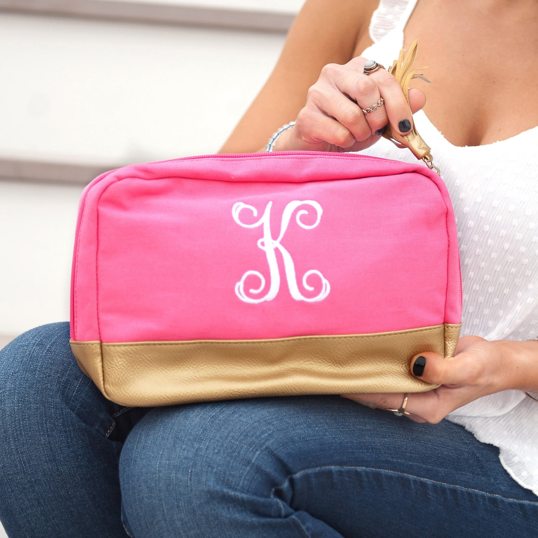 38101b13660b Hot Pink Cabana Cosmetic Bag