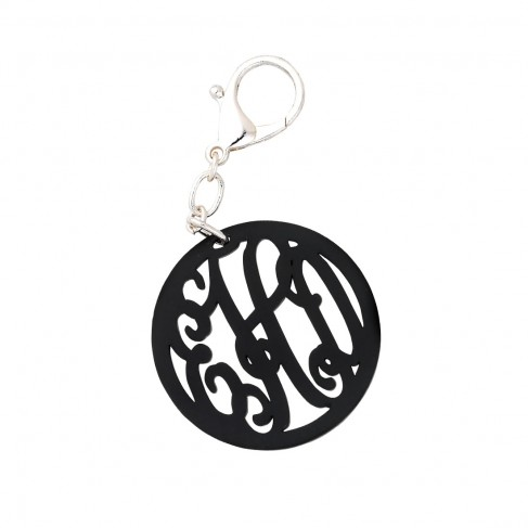 Black Vine Monogram Acrylic Keychain