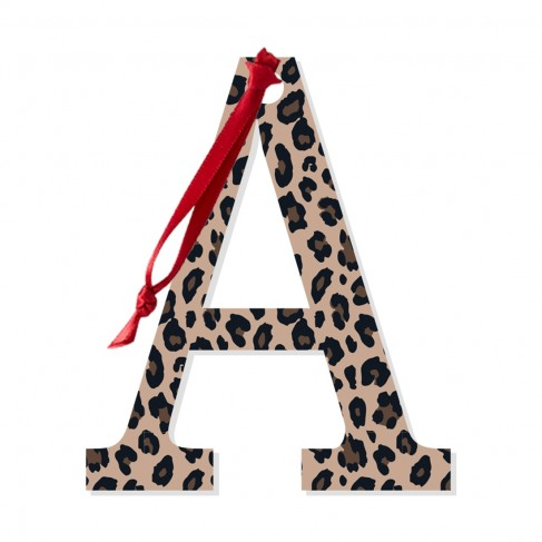 Leopard Acrylic Initial Accent Tag