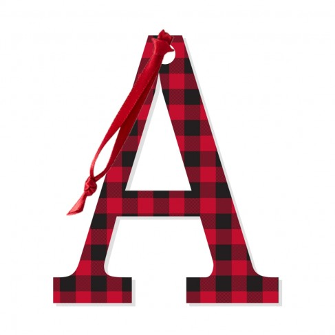 Red Buffalo Check Acrylic Initial Accent Tag