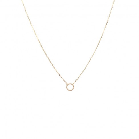 Gold CZ Open Circle Necklace