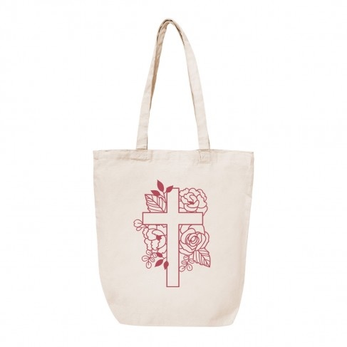 Floral Cross Canvas Tote