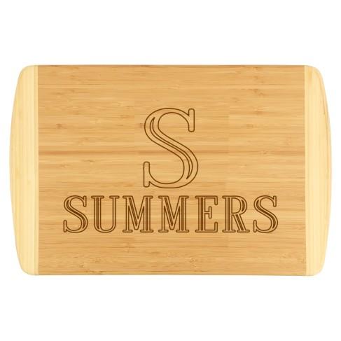 Single Initial Name Two-Tone Cutting Board
