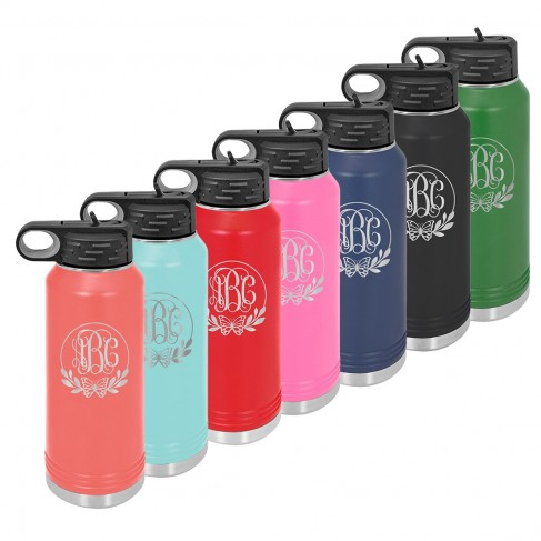 Water Bottle with Butterfly Design