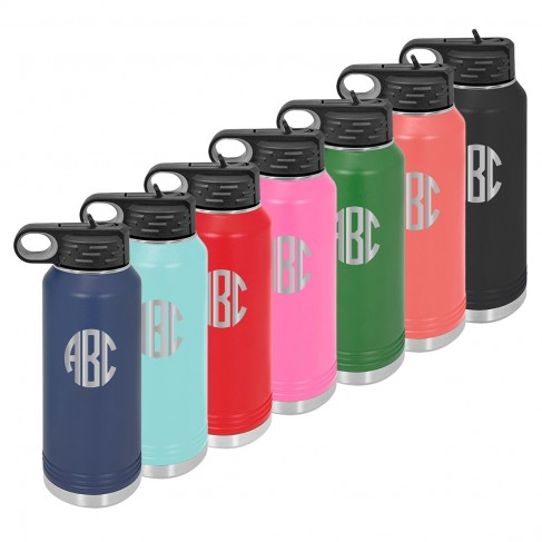 Water Bottle with Circle Initials
