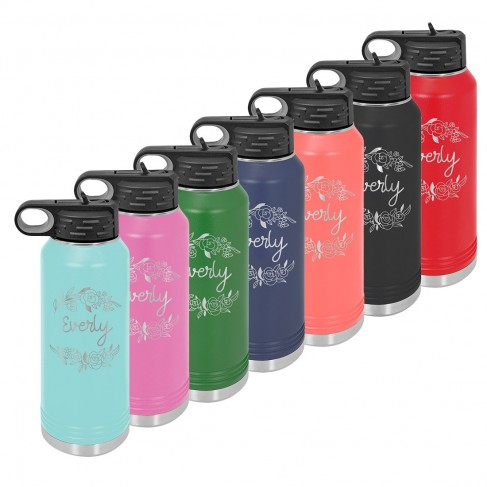 Water Bottle with Floral Design
