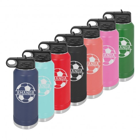Water Bottle with Soccer Design