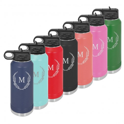Water Bottle with Wreath Single Initial Design