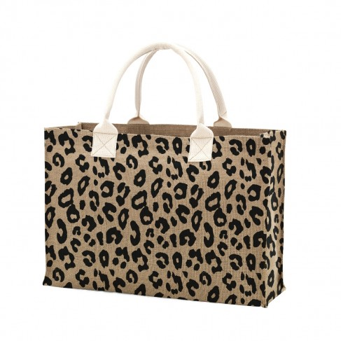 Leopard Burlap Tote Bag