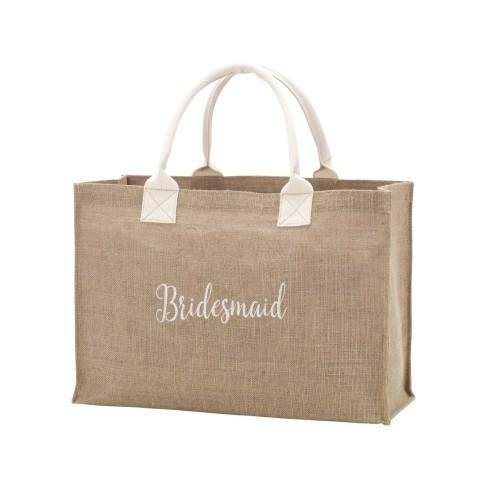 Burlap Tote Embroidered BRIDESMAID in White Thread