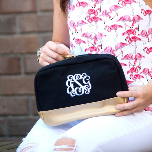 Black Cabana Cosmetic Bag