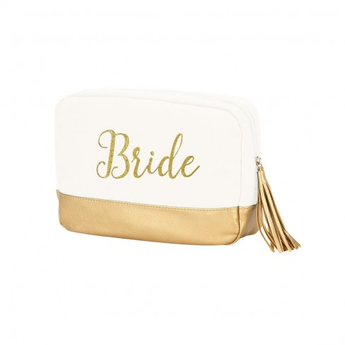 Creme Cabana Cosmetic Bag Embroidered BRIDE in Gold Thread