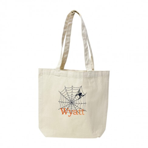 Spider Web Name Canvas Tote