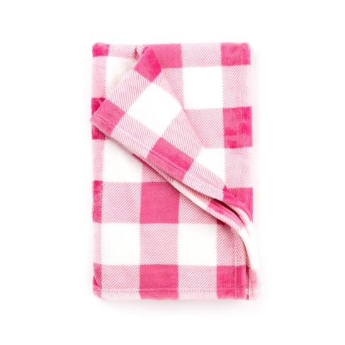 Hot Pink Check Travel Blanket