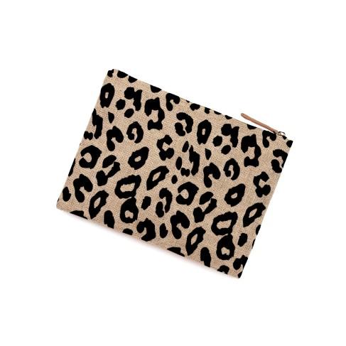Leopard Burlap Zip Pouch