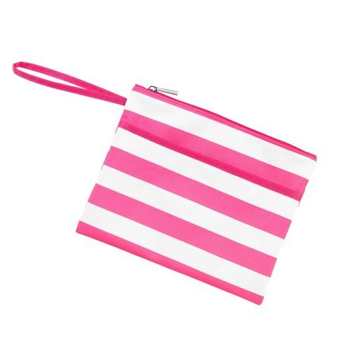 Hot Pink Stripe Zip Pouch Wristlet