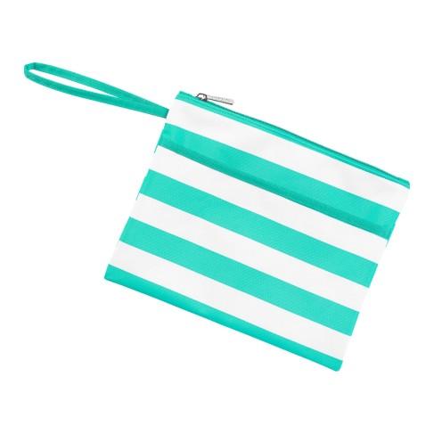 Mint Stripe Zip Pouch Wristlet