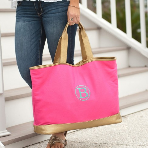 Hot Pink Cabana Large Tote