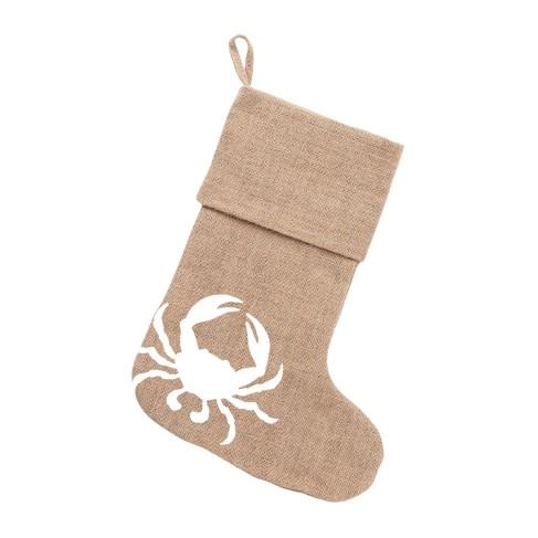 Crab Burlap Stocking