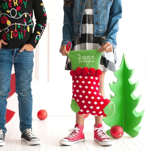 Red Dot Pom-Pom Knit Stocking