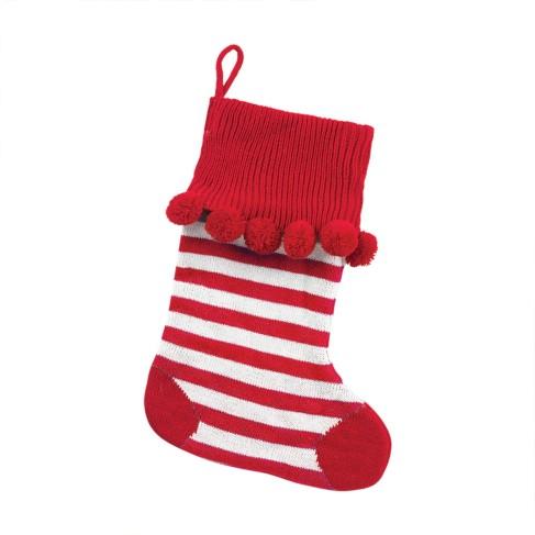 Red Stripe Pom Pom Stocking