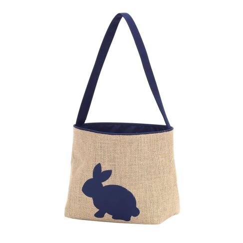 Navy Burlap Bunny Bucket