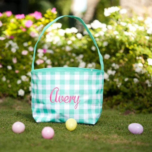 Mint Check Easter Bucket