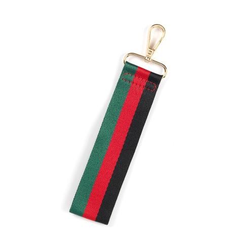 Black, Red, Green Stripe Wristlet Strap