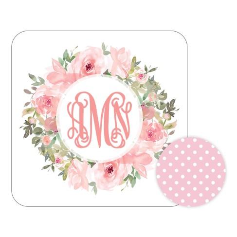 Personalized Pink Floral Desk Set