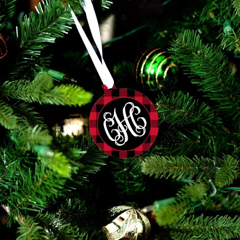Black & Red Buffalo Check Ornament