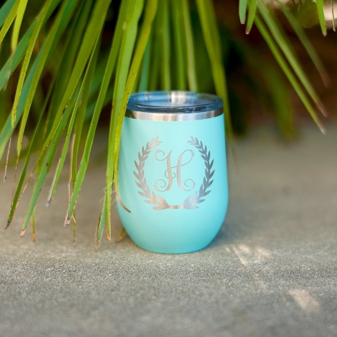 Wreath Single Initial 12 oz Tumbler