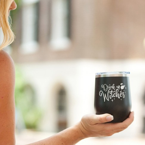 Drink Up Witches Black 12oz Insulated Tumbler