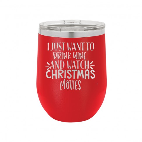 Wine & Christmas Movies Red 12oz Insulated Tumbler