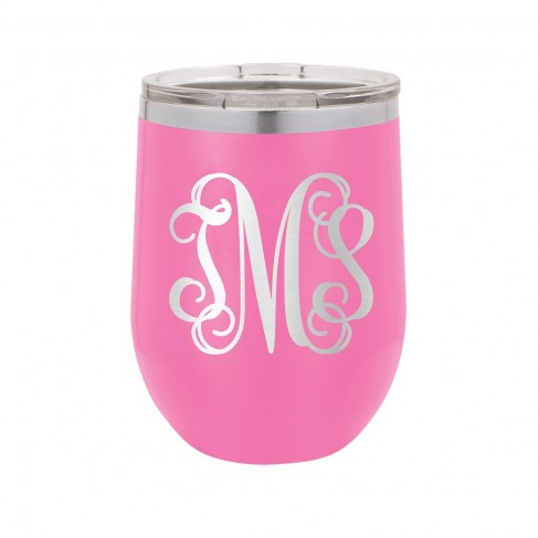 Vine Monogram Pink 12oz Insulated Tumbler