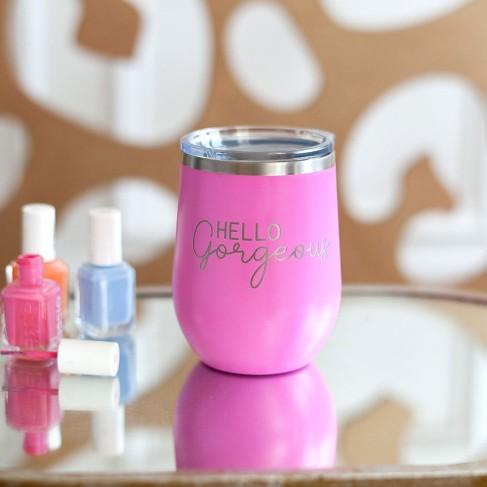 Hello Gorgeous Pink 12oz Insulated Tumbler