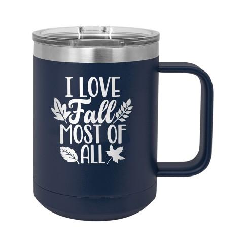 Love Fall Navy 15oz Insulated Coffee Mug