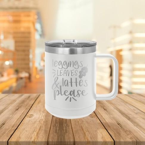 Leggings, Leaves & Lattes White 15oz Insulated Coffee Mug