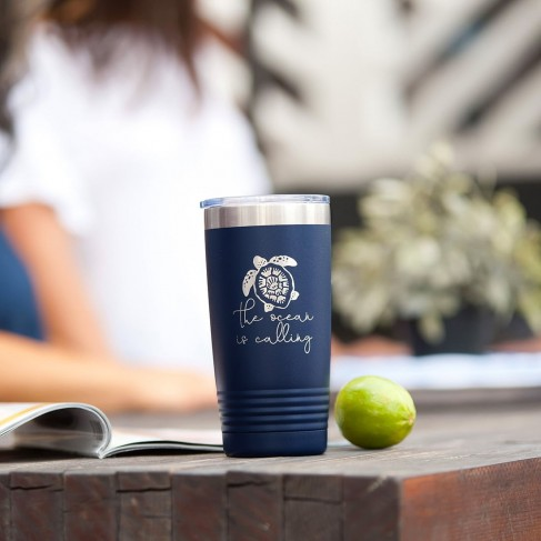 The Ocean is Calling Navy 20oz Insulated Tumbler
