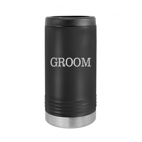 Groom Black Slim Can Beverage Holder