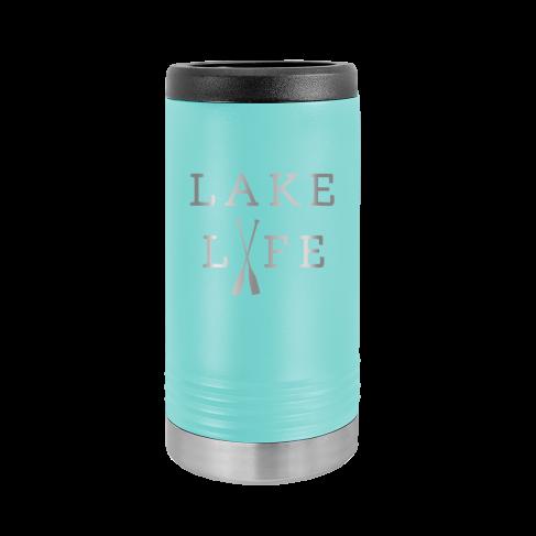 Lake Life Teal Slim Can Beverage Holder