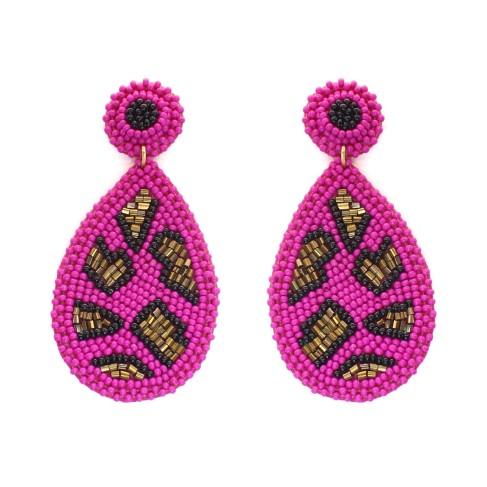 Hot Pink Cami Leopard Earrings
