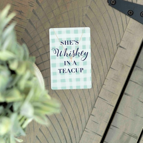 Whiskey in a Teacup Keepsake Necklace Card