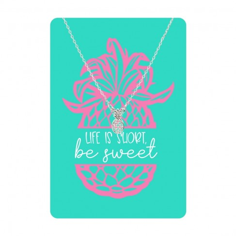 Silver Pineapple Necklace Card